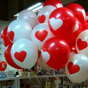 50pcs  HOT SALE!  White Red Lovely round heart wedding balloons  Birthday wedding Decoration  Marriage Balloons latex ballute