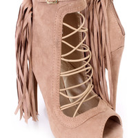Taupe Fringe Strappy Single Sole Booties Faux Suede