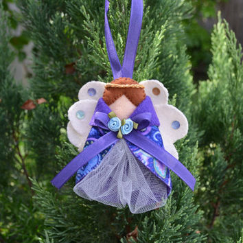 Handmade felt Angel Ornament, Christmas ornament, purple angel, Hanging ornament, tree decoration, holiday tradition