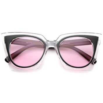 Women's Crystal Two Tone Square Cat Eye Sunglasses A070