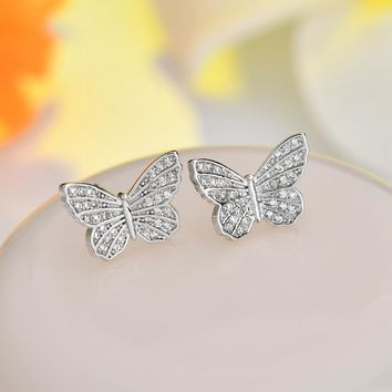 Delicate Silver Color CZ Crystal Cubic Zirconia Butterfly Earrings For Girls Insect Stud Earrings Fashion Jewelry Women Brincos