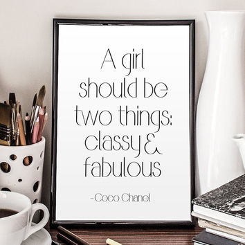 Chanel Quote Coco Chanel Poster Chanel Wall Art Chanel Printable Fashion Quote Fashionista Coco Chanel Print Inspirational Quote COCO CHANEL