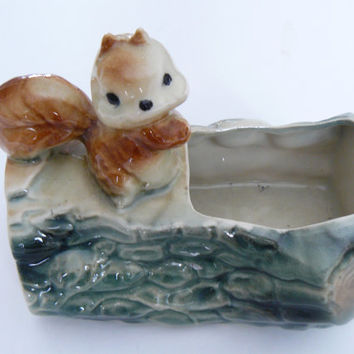 Mid Century Squirrel On A Log Planter
