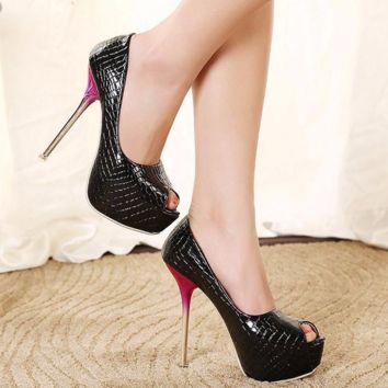 Trendy Crocodile Print Peep Toe Stiletto High Heels