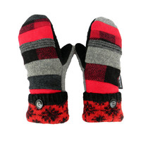 Red and Black Wool Mittens, Sweater Mittens, Women's mittens, Handmade in Wisconsin Sweaty Mitts Patchwork Plaid Gray Ecofriendly