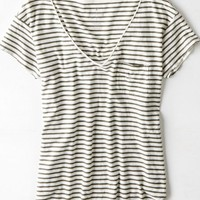AEO Women's Favorite Striped Pocket T-shirt (Dusty Olive)
