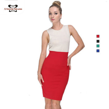 High Elastic Slim Office Package Skirts Women Summer Skirt 2016 Black Green Red Knee Length Pencil Skirt High Waist Skirts 662