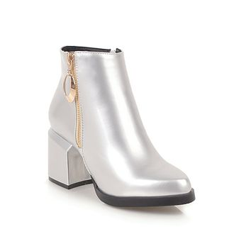 Pointed Toe Patent Leather Ankle Boots Chunky Heel Shoes 6092