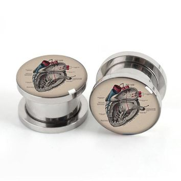 Vintage Anatomical Heart Style Stainless Steel Tunnel Gauges Plugs 1 Pair Size 4-20mm