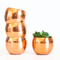 Vintage Solid Copper Moscow Mule Cups, Roly Poly Round Tumblers or Mini Planters, Coppercraft Guild, Taunton Mass.
