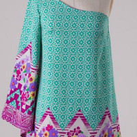 Vintage Print One Shouldered Dress - Green