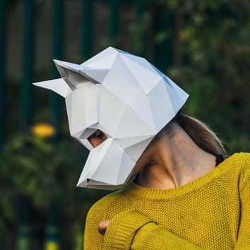 Paper Dog Mask, Papercraft Template, Festival Mask, DIY instant download,