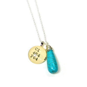 Turquoise Howlite Teardrop Sterling Silver Library Dewey Decimal Necklace