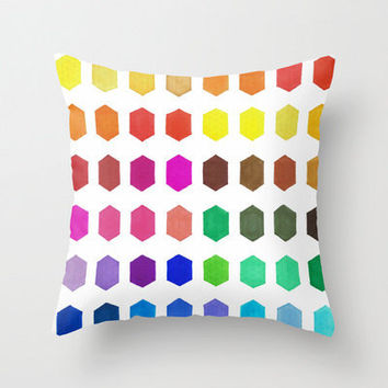 Colorful Throw Pillow - Hexatone - Graph Drawing - Throw Pillow Cover , 16x16, Color Chart