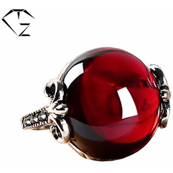 GZ ANCHOR RING GREEN AGATE 925 STERLING SILVER MARCASITE RED STONE MEN WEDDING ROUND SHAPE S925 THAI SILVER RINGS FOR WOMEN
