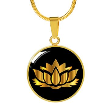 Golden Lotus Flower - 18k Gold Finished Luxury Necklace