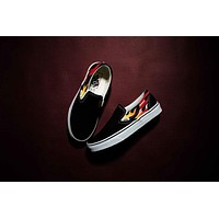 Best Deal Online Thrasher x Vans Flame Slip-On Low Top Men Flats Shoes Canvas Sneakers