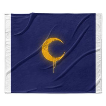 "BarmalisiRTB ""Melting Moon2"" Yellow Digital Fleece Throw Blanket"