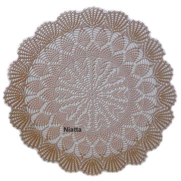 FREE SHIPPING Ecru Large Doily Fresh Handmade New Hand Fine Thread Crochet Niatta