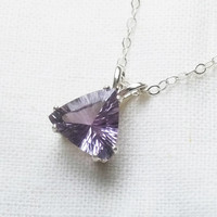 "Pink amethyst necklace trillion concave cut 16"" sterling silver necklace"