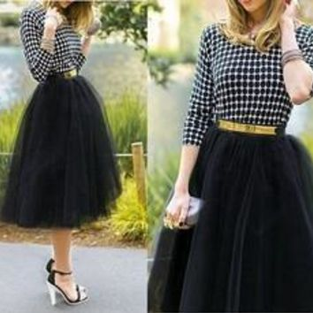 Plus size Fashion Tulle Skirts for Women Midi Black Fluffy Puff Highwaisted Unique Bottoms Skirt Clothes [8824203207]