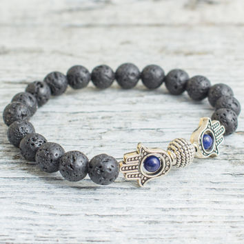 Black lava stone and lapis lazuli beaded silver Hamsa hand stretchy bracelet, mens bracelet, womens bracelet