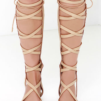 Huntress Camel Beige Tall Gladiator Sandals