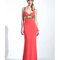 Mignon VM1481 Tangerine & Gold Low Back Gown 2015 Prom Dresses
