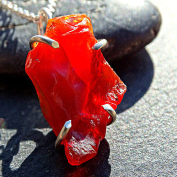 fire opal necklace, raw crystal necklace, mexican fire opal necklace, raw fire opal pendant, genuine opal necklace, crystal pendant for him
