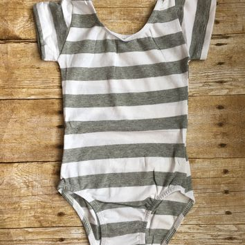 Gray and White Stripe Cap Sleeve Leotard
