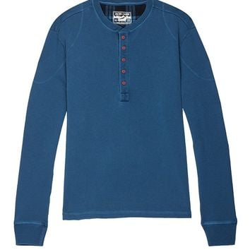 Blue Stretch Long Sleeve Henley