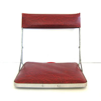 Vintage Metal Stadium Seat Red Vinyl Portable Seat Camping Gear Mid Century Chair Outdoor Furniture Industrial Metal
