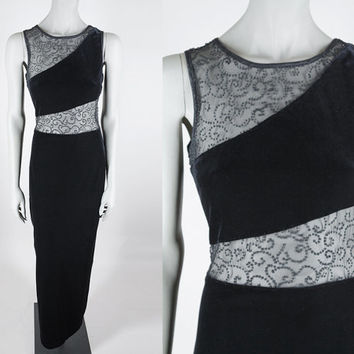 Vintage 90s Dress / 1990s Long Black Velvet Cutout Beaded Mesh Evening Dress M