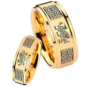 His Her Glossy Step Edges Multiple Dragon Celtic 14K Gold IP Tungsten Wedding Rings Set