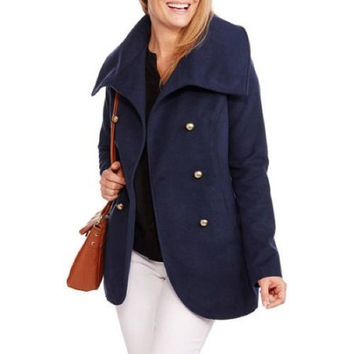 Maxwell Studio Women's Tulip Faux Wool Double-Breasted Peacoat, Blue, Large