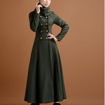 winter women double breasted woolen overcoat ultra long coat paragraph outerwear slim elegant military wind