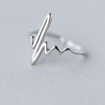 Silver Heart Beat Rings for Women Adjustable Electrocardiogram Rings Simple
