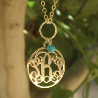 """Gold Monogram necklace - Round Circle Shape - 1.25"""" inch Personalized Monogra0m - 18k Gold Plated With Turquoise Bead Christmas Gift"""