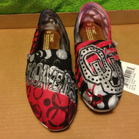 Oklahoma Sooners hand painted toms shoes. by HeartNSoleDesigns