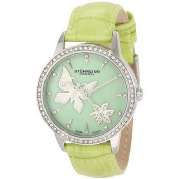 Stuhrling Original Women's 518.1115L88 Lifestyles Collection Verona Mariposa Swarovski Crystal Mother-Of-Pearl Watch - designer shoes, handbags, jewelry, watches, and fashion accessories | endless.com