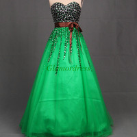 unique romantic green tulle prom dresses with sequins and crystals long elegant beaded gowns for puinceanera party cheap stunning dress
