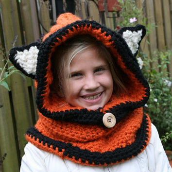 Hooded Cowl with Ears (Fox)  -  All Sizes Available