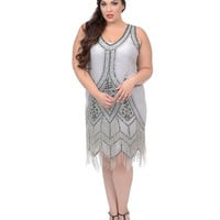 Plus Size Grey & Black Embroidered Somerset Flapper Dress