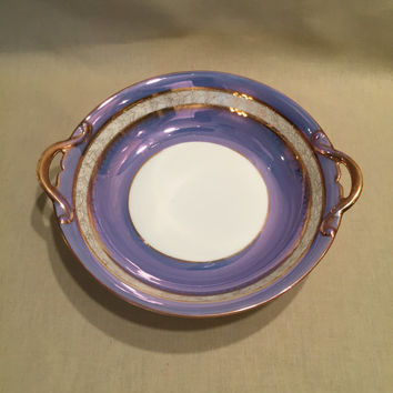Noritake Bowl/Vintage/Handpainted Iridescent Lusterware/Periwinkle and Gold Bowl