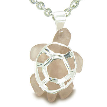 Lucky Turtle Healing Rose Quartz Love Powers Amulet Pendant 18 Inch Necklace