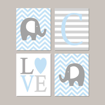 ELephant Nursery Decor Elephant Nursery Art Boy Nursery Decor Initial Love Baby Blue Gray Nursery Set of 4 Prints Or Canvas Elephant Theme