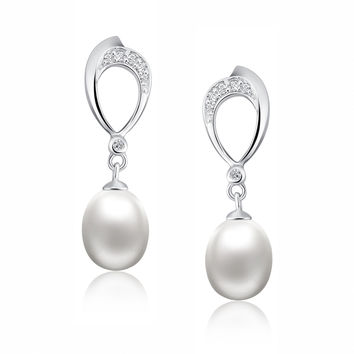 Sterling Silver Oval W. Pear Drop Freshwater Cultured Pearl and CZ Earrings
