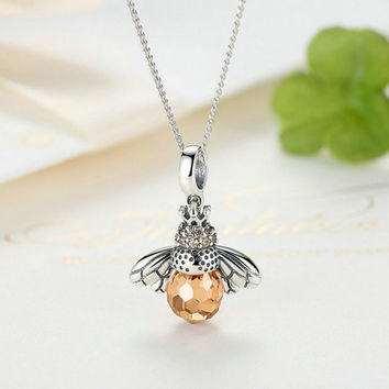 925 Sterling Silver Lovely Orange Bee Animal Pendants Necklace for Women Fine Jewelry -0411