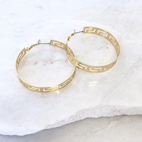 Massika Gold Pattern Hoop Earrings