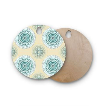 "Julia Grifol ""Soft Mandalas"" Green Yellow Round Wooden Cutting Board"